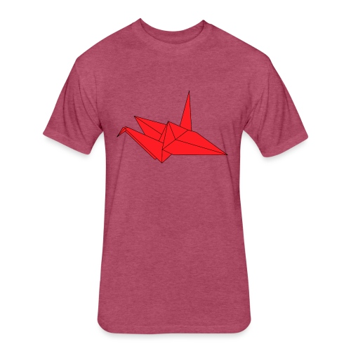 Origami Paper Crane Design - Red - Fitted Cotton/Poly T-Shirt by Next Level