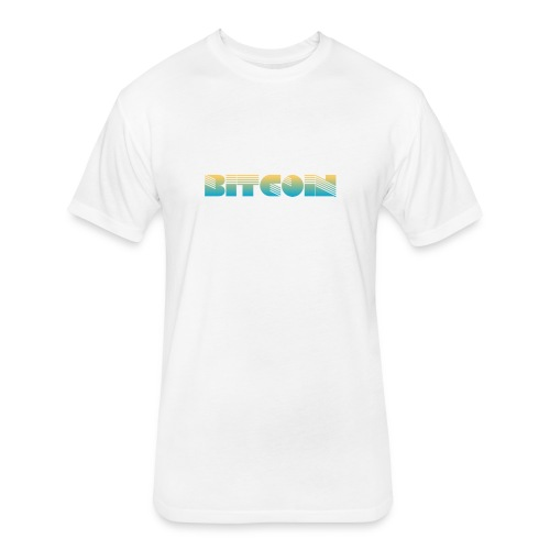 Bitcoin Art Deco Design - Fitted Cotton/Poly T-Shirt by Next Level