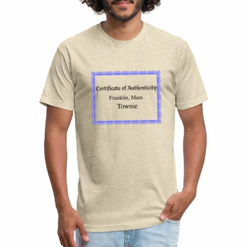 Franklin Mass townie certificate of authenticity - Fitted Cotton/Poly T-Shirt by Next Level
