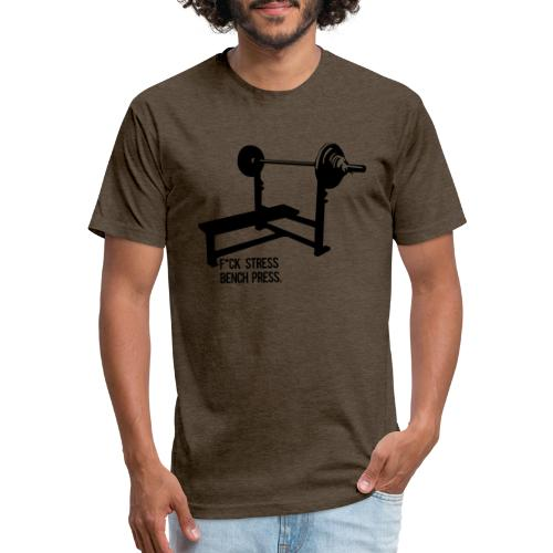 F*ck Stress bench press - Fitted Cotton/Poly T-Shirt by Next Level