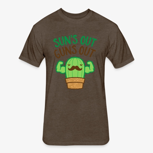 Sun's Out Guns Out Macho Cactus - Fitted Cotton/Poly T-Shirt by Next Level