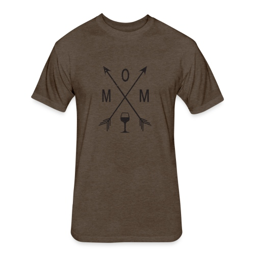 Mom Loves Wine (black ink) - Fitted Cotton/Poly T-Shirt by Next Level