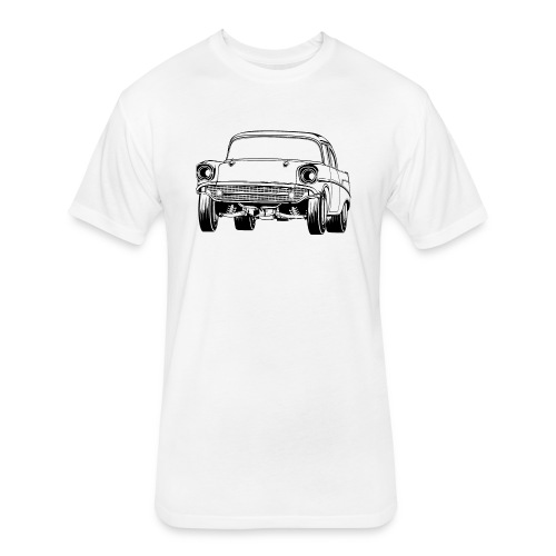 Gasser Up 1957 Chevy Drag Car - Fitted Cotton/Poly T-Shirt by Next Level