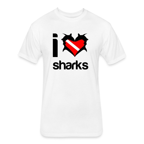 I Love Sharks - Fitted Cotton/Poly T-Shirt by Next Level