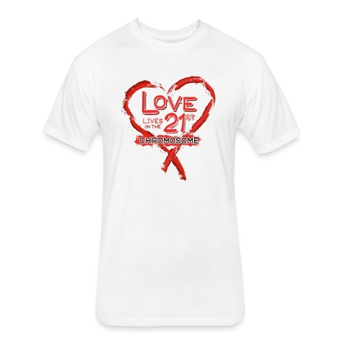 Down Syndrome Love (Red) - Fitted Cotton/Poly T-Shirt by Next Level