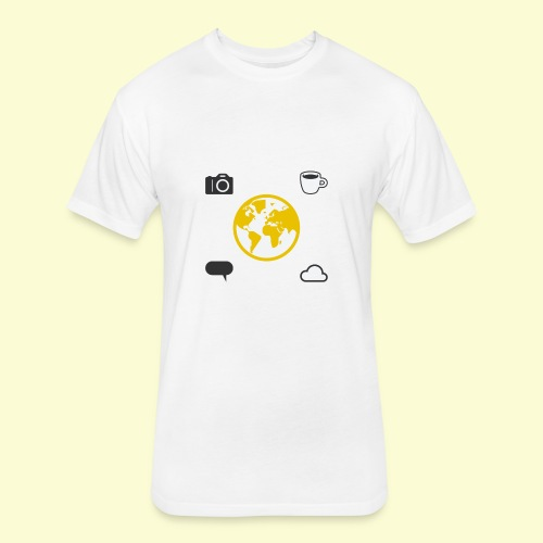 Yellow world print - Fitted Cotton/Poly T-Shirt by Next Level