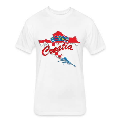 Croatia Football Team Colours T-Shirt Treasure Des - Fitted Cotton/Poly T-Shirt by Next Level