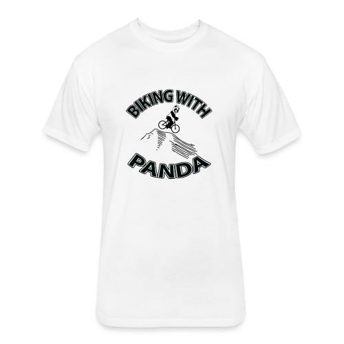 Biking with Panda - Fitted Cotton/Poly T-Shirt by Next Level