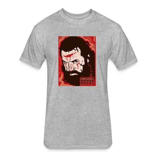 BRUISER BRODY Wrestling legend art print - Fitted Cotton/Poly T-Shirt by Next Level