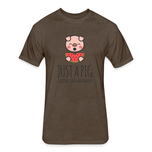 Just A Pig Enjoying Some Watermelon - Fitted Cotton/Poly T-Shirt by Next Level