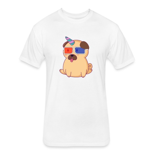 Dog with 3D glasses doing Vision Therapy! - Fitted Cotton/Poly T-Shirt by Next Level