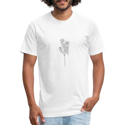 Minimal Floral Line Art Print - Fitted Cotton/Poly T-Shirt by Next Level