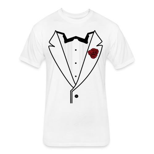 Tuxedo w/Black Lined Lapel - Fitted Cotton/Poly T-Shirt by Next Level