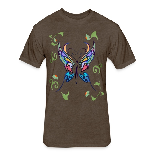 Bright Butterfly - Fitted Cotton/Poly T-Shirt by Next Level