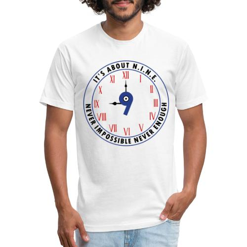 NINE Logo v2 2018 blue Outlines Red Numbers - Fitted Cotton/Poly T-Shirt by Next Level