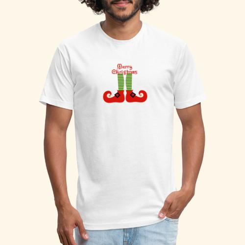 Elf Feet Merry Christmas Design - Fitted Cotton/Poly T-Shirt by Next Level