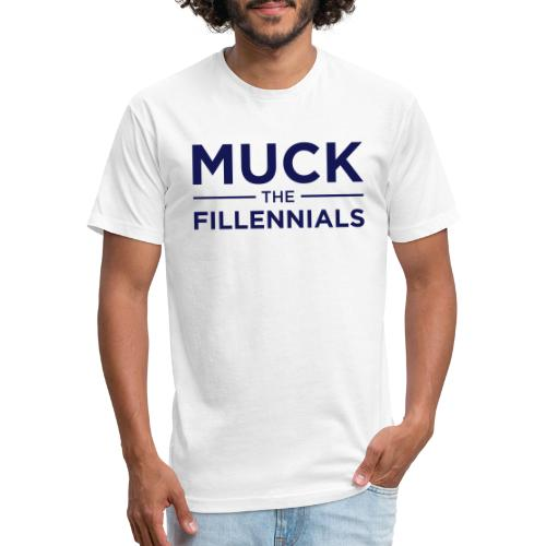 Muck The Fillennials - Navy Text Design - Fitted Cotton/Poly T-Shirt by Next Level