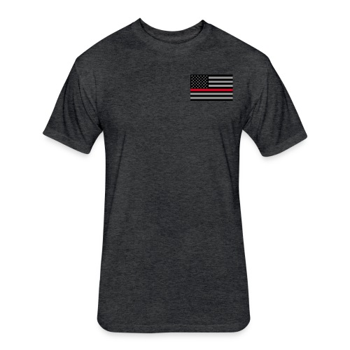 Redline Firefighter Flag - Fitted Cotton/Poly T-Shirt by Next Level