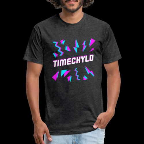 Timechyld Logo with Retro Pattern - Fitted Cotton/Poly T-Shirt by Next Level