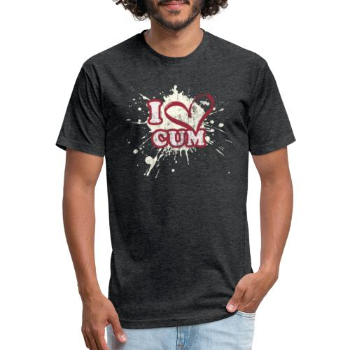I Heart Cum (Splatter) - Fitted Cotton/Poly T-Shirt by Next Level