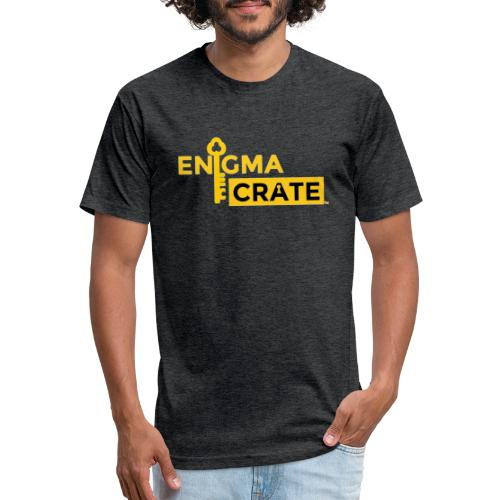 gold on black enigma crate logo - Fitted Cotton/Poly T-Shirt by Next Level