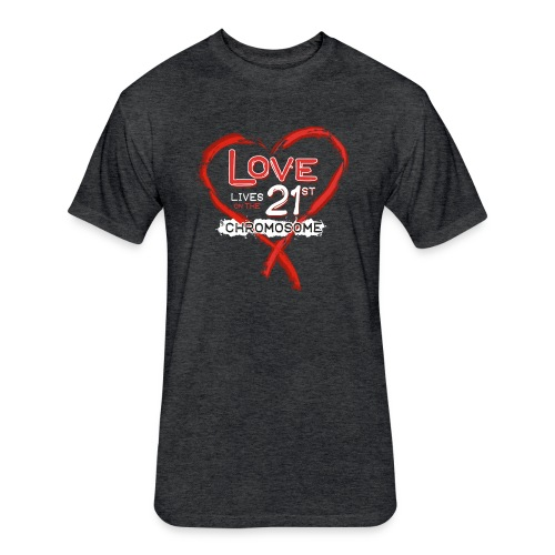 Down Syndrome Love (Red/White) - Fitted Cotton/Poly T-Shirt by Next Level