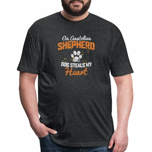AN ANATOLIAN SHEPHERD DOG STEALS MY HEART - Fitted Cotton/Poly T-Shirt by Next Level