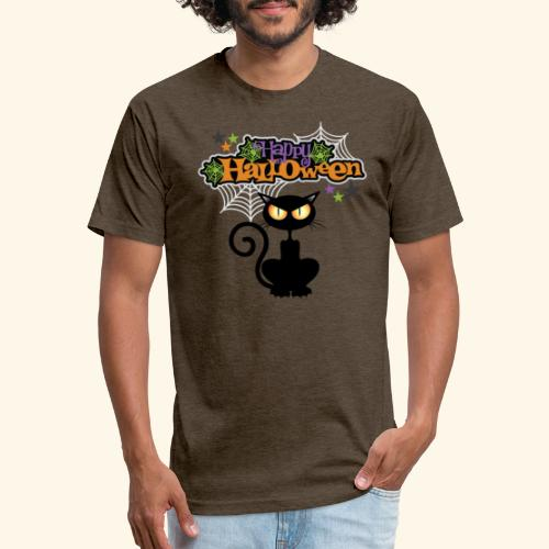 happy holloween BLACCK CAT TEE - Fitted Cotton/Poly T-Shirt by Next Level