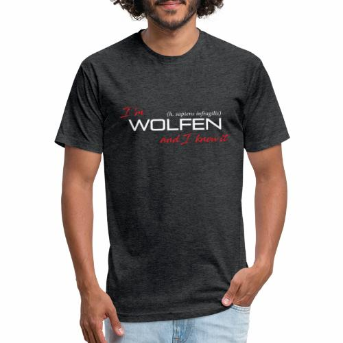 Front/Back: Wolfen Atitude on Dark - Adapt or Die - Fitted Cotton/Poly T-Shirt by Next Level