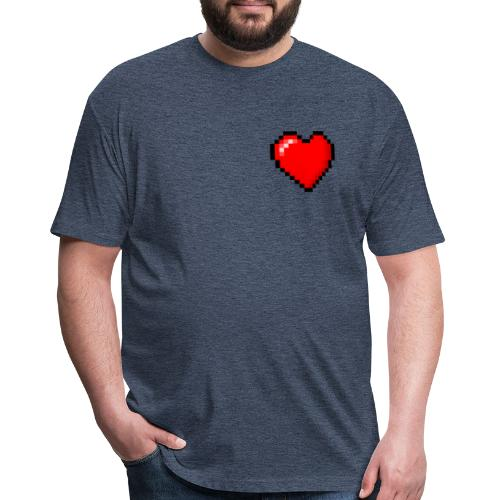 Pixelated Heart - Fitted Cotton/Poly T-Shirt by Next Level