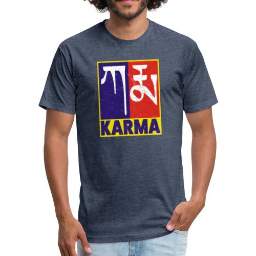 Karma Tibetan Word Text - Fitted Cotton/Poly T-Shirt by Next Level
