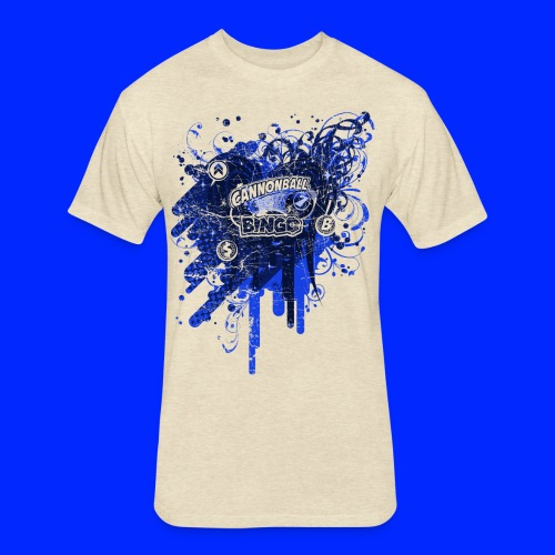 Vintage Cannonball Bingo Drip Blue - Fitted Cotton/Poly T-Shirt by Next Level