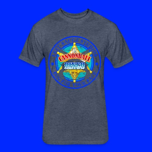 Vintage Cannonball Bingo Badge Blue - Fitted Cotton/Poly T-Shirt by Next Level