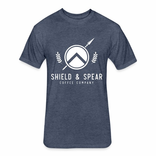 Shield and Spear White Logo - Fitted Cotton/Poly T-Shirt by Next Level