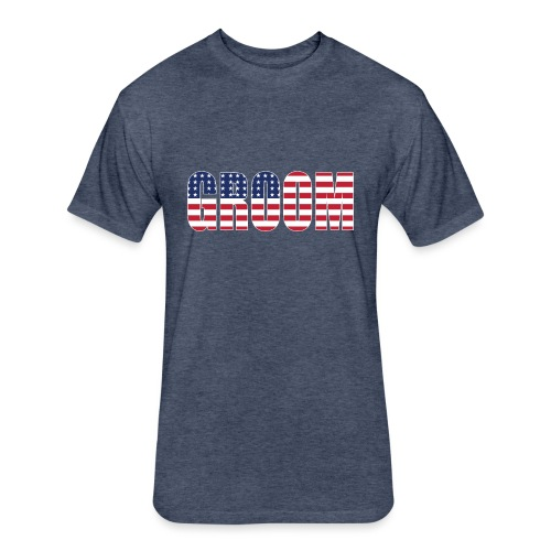 Groom US Flag - Fitted Cotton/Poly T-Shirt by Next Level
