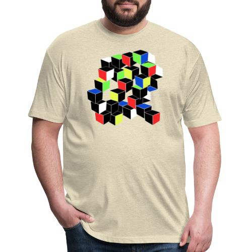 Optical Illusion Shirt - Cubes in 6 colors- Cubist - Fitted Cotton/Poly T-Shirt by Next Level