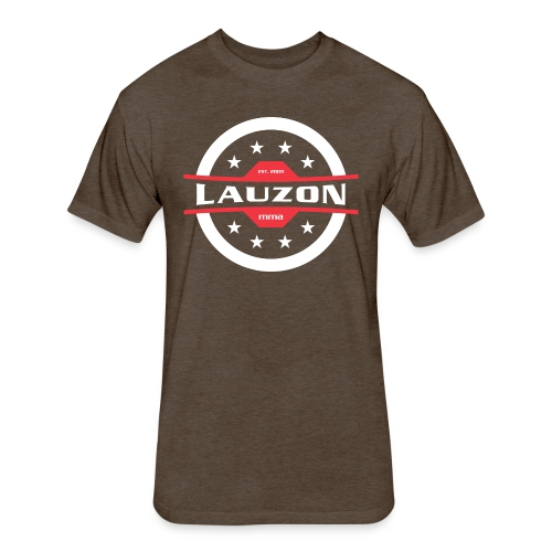 White on Black Lauzon MMA Logo w No Words - Fitted Cotton/Poly T-Shirt by Next Level