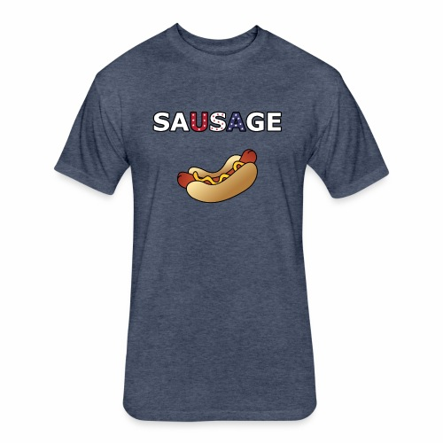 Patriotic BBQ Sausage - Fitted Cotton/Poly T-Shirt by Next Level