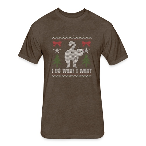 Ugly Christmas Sweater I Do What I Want Cat - Fitted Cotton/Poly T-Shirt by Next Level