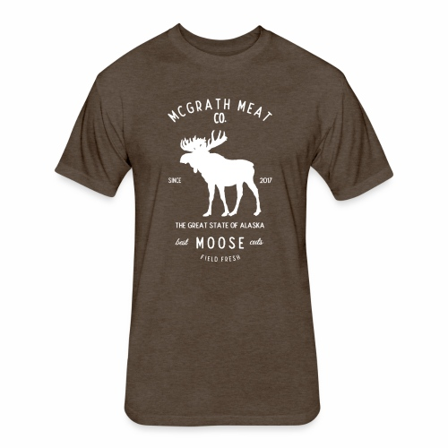 McGrath Meat Company White Stamp Logo - Fitted Cotton/Poly T-Shirt by Next Level