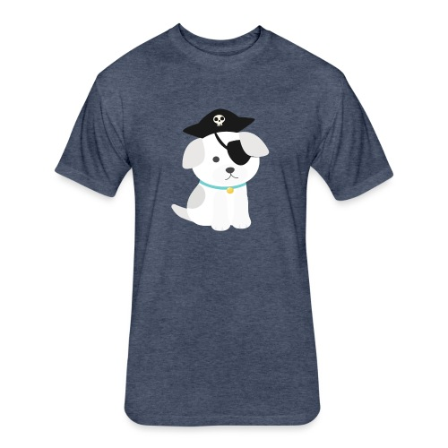 Dog with a pirate eye patch doing Vision Therapy! - Fitted Cotton/Poly T-Shirt by Next Level