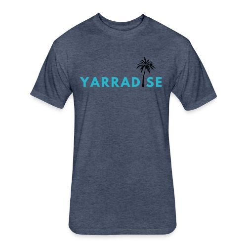 Yarradise Palm: Blue text - Fitted Cotton/Poly T-Shirt by Next Level
