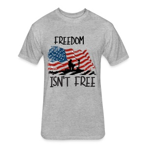 Freedom isn't free flag with fallen soldier design - Fitted Cotton/Poly T-Shirt by Next Level
