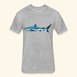 Geometric Shark - Fitted Cotton/Poly T-Shirt by Next Level