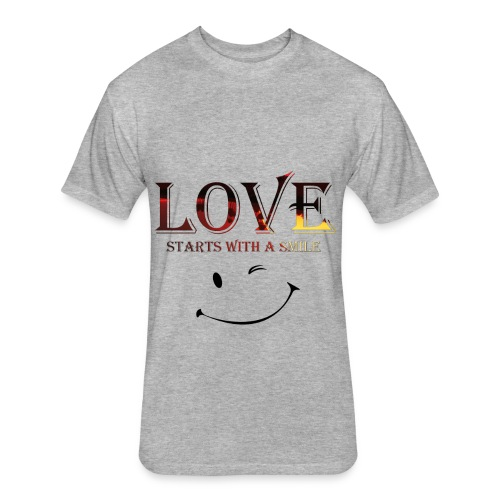 lOVE starts with a smille - Fitted Cotton/Poly T-Shirt by Next Level
