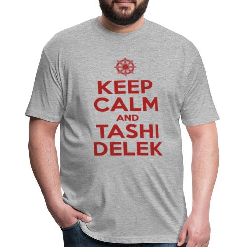 Keep Calm and Tashi Delek Tibet Dharma Wheel - Fitted Cotton/Poly T-Shirt by Next Level