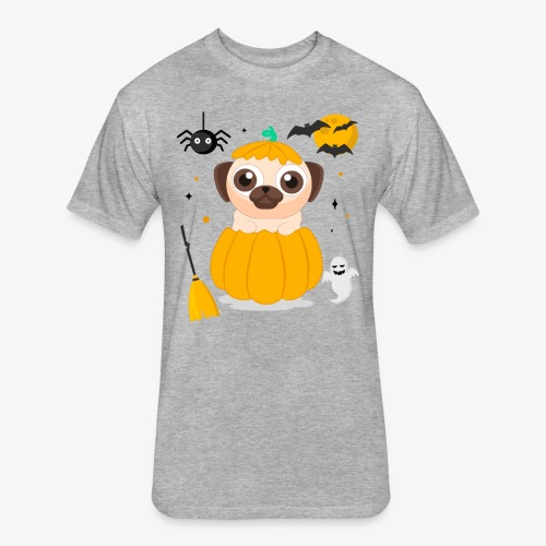 I love Halloween Pug Dog T-Shirt - Fitted Cotton/Poly T-Shirt by Next Level