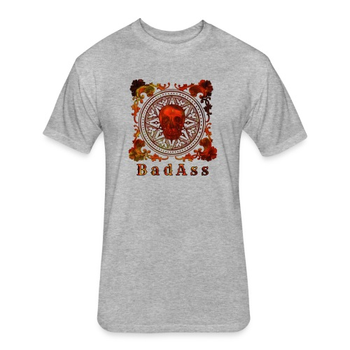 Skull on Mandala Badass - Fitted Cotton/Poly T-Shirt by Next Level