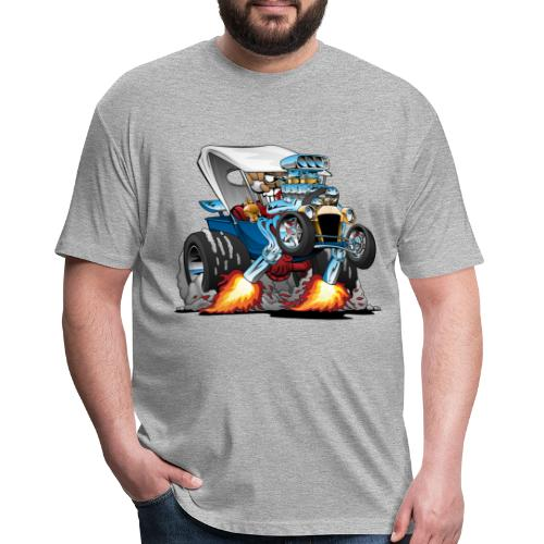Custom T-bucket Roadster Hotrod Cartoon - Fitted Cotton/Poly T-Shirt by Next Level