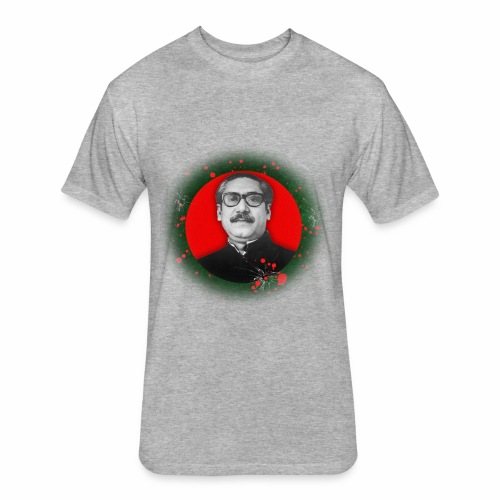 Bangabandhu inside red circle of flag - Fitted Cotton/Poly T-Shirt by Next Level